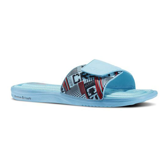 REEBOK MEN'S CROSSFIT REEBOK CROSSFIT VICTORY SLIDE Neon Blue / Gravel / Red Rush