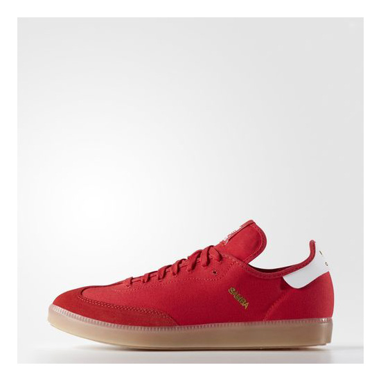 Men's Adidas Originals Samba Modern Classic Shoes Scarlet / Running White / Metallic Gold