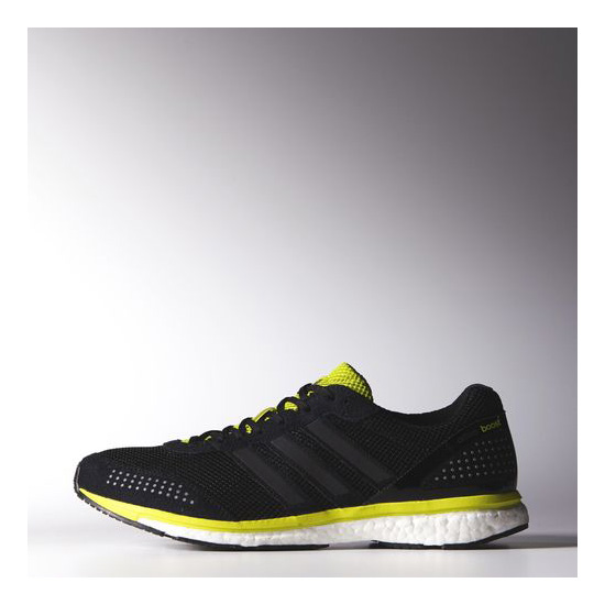 Men's Adidas Running Adizero Adios Boost 2.0 Shoes Core Black / Black / Semi Solar Yellow