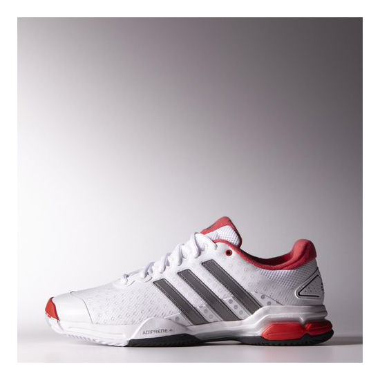 Men's Adidas Tennis Barricade Team 4 All Court Shoes Running White Ftw / Neo Iron / Light Red