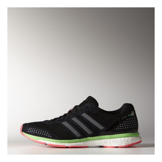 Women's Adidas Running adizero Adios Boost 2.0 Shoes Core Black / Flash Red / Flash Green