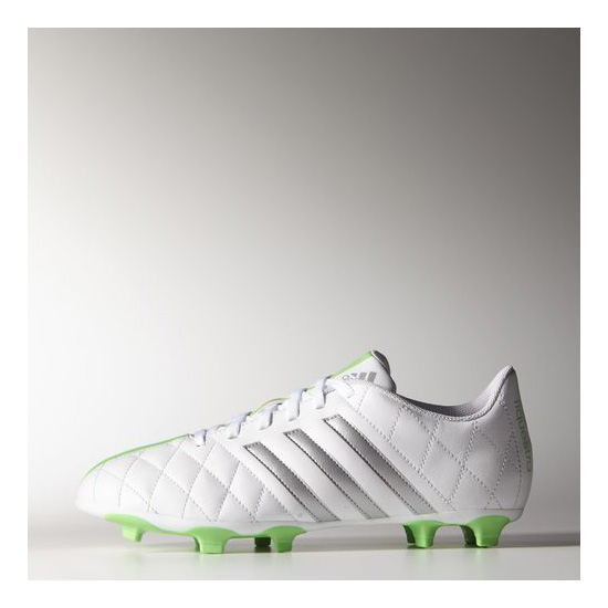 Women's Adidas Soccer 11 Questra FG Cleats Running White Ftw / Metallic Silver / Flash Green
