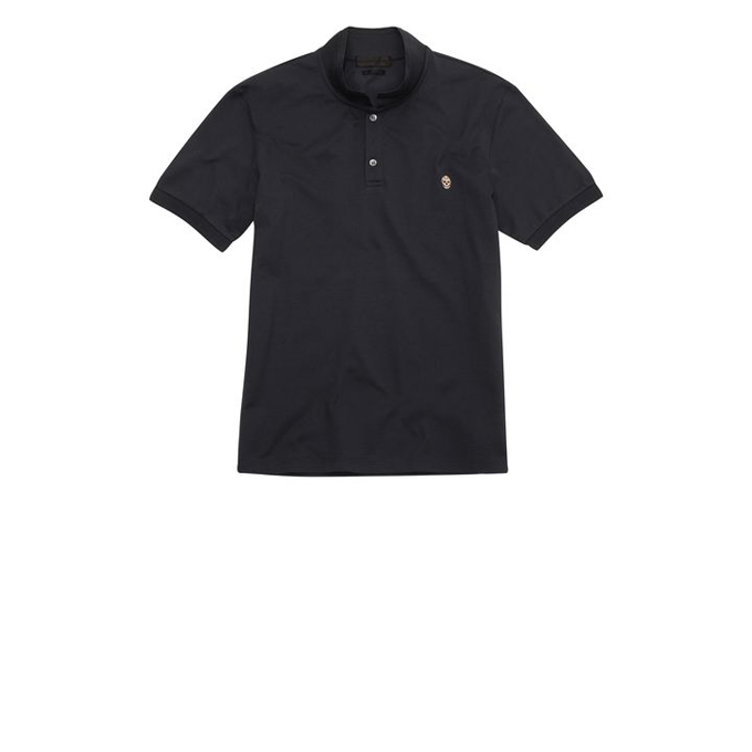 ALEXANDER MCQUEEN PIQUE COTTON EMBROIDERED SKULL POLO-SHIRT
