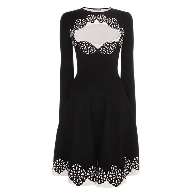 ALEXANDER MCQUEEN SANGALLO JACQUARD CIRCLE DRESS