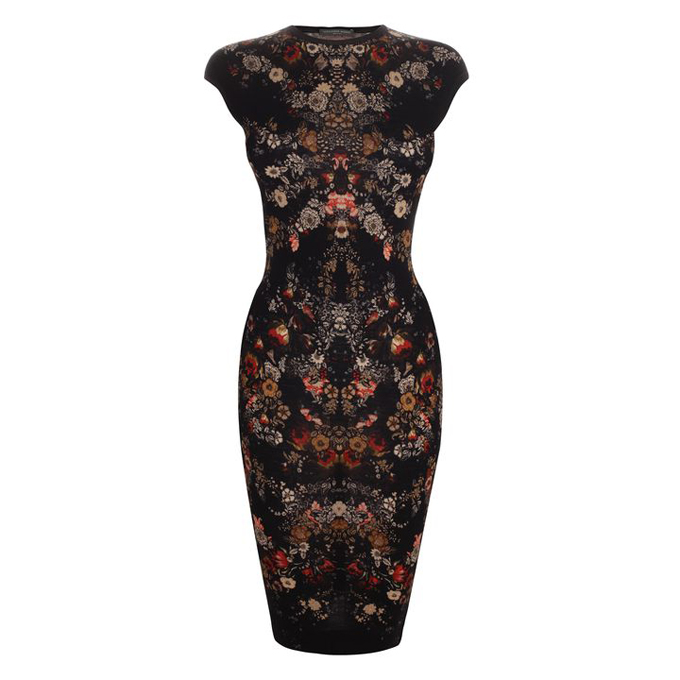 ALEXANDER MCQUEEN FLORAL PRINT PENCIL DRESS