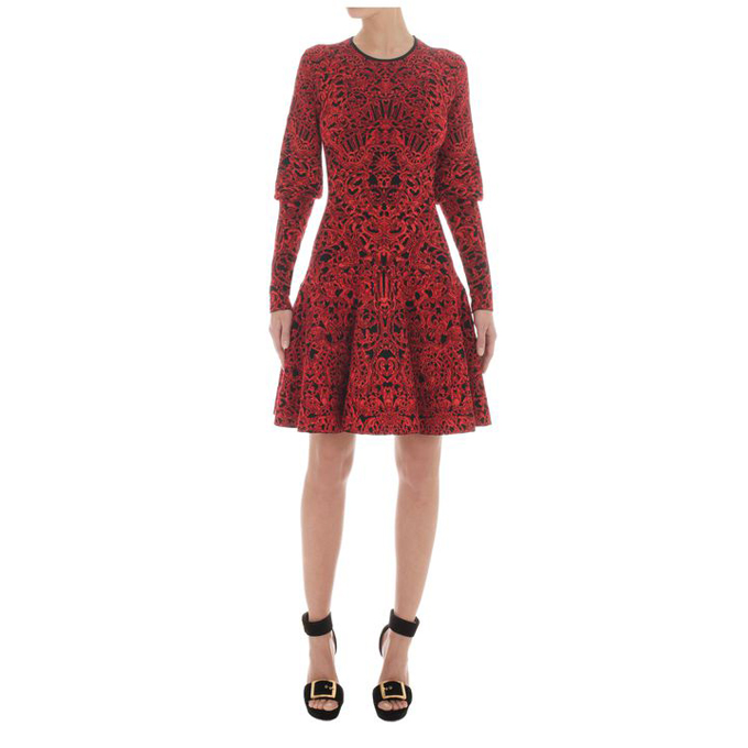 ALEXANDER MCQUEEN GLORY JACQUARD KNIT DRESS