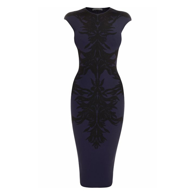ALEXANDER MCQUEEN SPINE LACE JACQUARD PENCIL DRESS