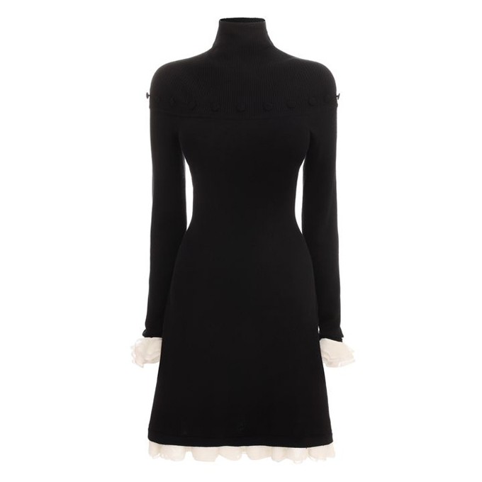 ALEXANDER MCQUEEN SILK RUFFLE DRESS