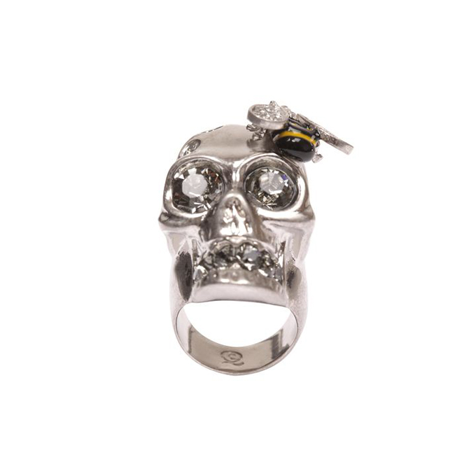 ALEXANDER MCQUEEN CRYSTAL BEE AND SKULL COCKTAIL RING