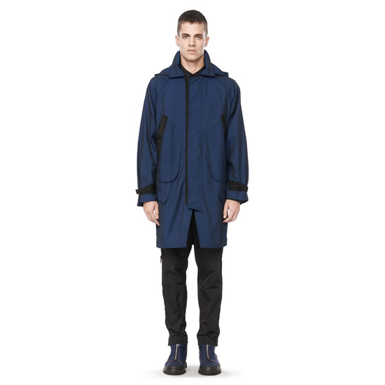 DARK BLUE ALEXANDER WANG MULTI POCKET HOODED PARKA JACKET