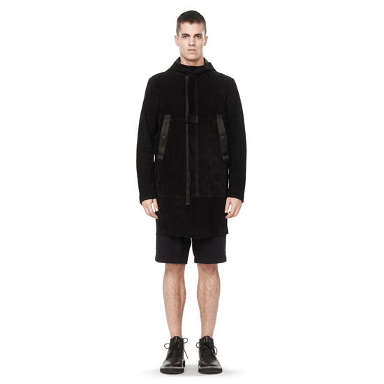 BLACK ALEXANDER WANG HOODED LEATHER CARCOAT