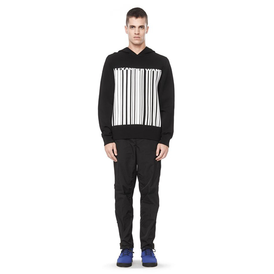 BLACK ALEXANDER WANG BARCODE LOGO HOODED SWEATER