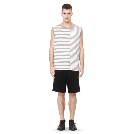 LIGHT GRAY ALEXANDER WANG LINEN STRIPE JERSEY MUSCLE TANK