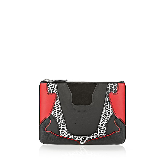 MULTICLR ALEXANDER WANG SNEAKER POUCH IN BLACK AND LACQUER WITH IMITATION RHODIUM