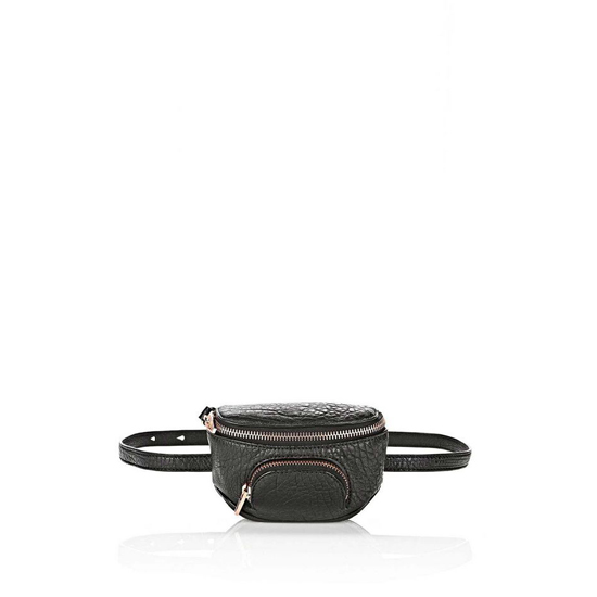 BLACK ALEXANDER WANG FANNY PACK IN PEBBLED BLACK WITH ROSE GOLD