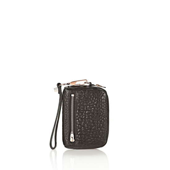 BLACK ALEXANDER WANG LARGE FUMO IN PEBBLED BLACK WITH ROSE GOLD