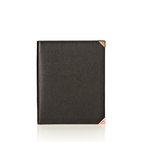 BLACK ALEXANDER WANG PRISMA IPAD CASE IN BLACK PEBBLE WITH ROSEGOLD