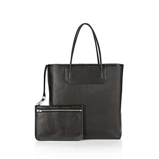 BLACK ALEXANDER WANG PRISMA TOTE IN BLACK WITH RHODIUM