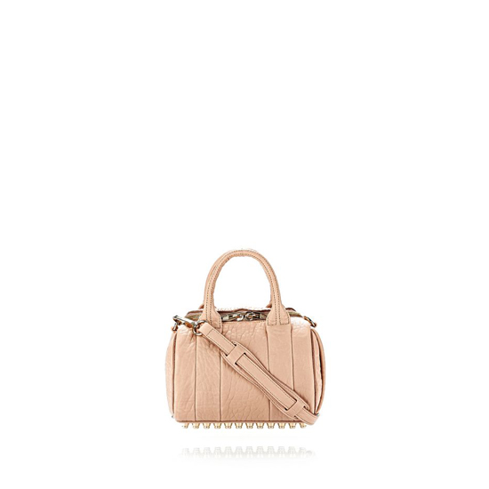 LIGHT PINK ALEXANDER WANG MINI ROCKIE IN PEBBLED BLUSH WITH PALE GOLD