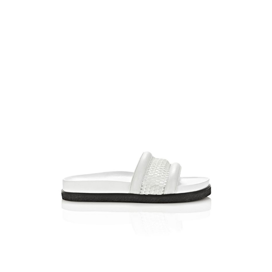WHITE ALEXANDER WANG JAC MESH AND LEATHER SANDAL