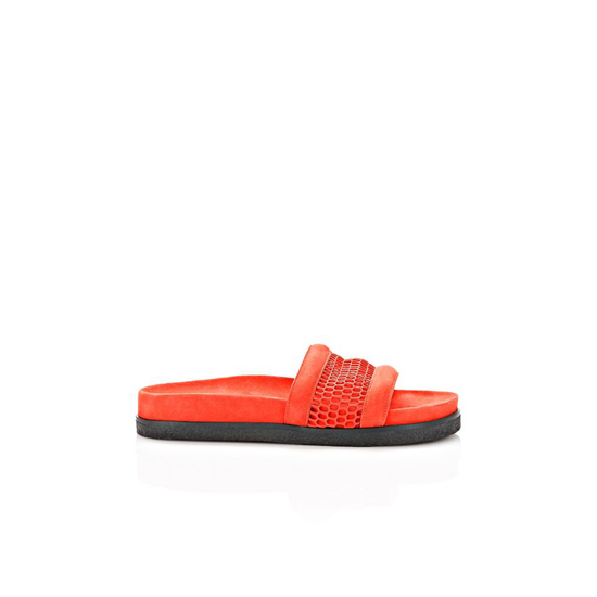 RED ALEXANDER WANG JAC MESH AND SUEDE SANDAL