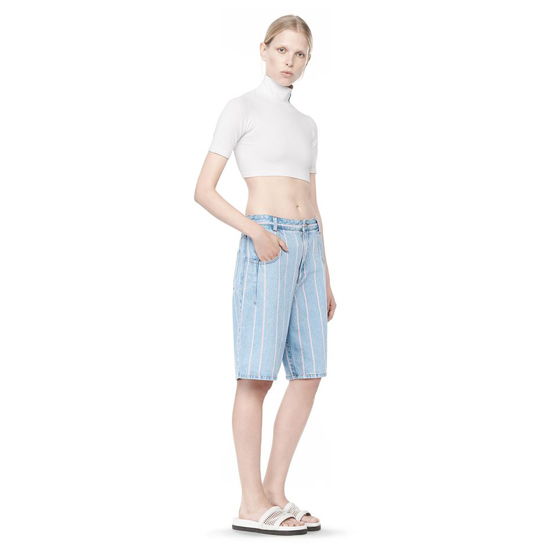LIGHT BLUE ALEXANDER WANG STRIPED DENIM SKATER SHORTS