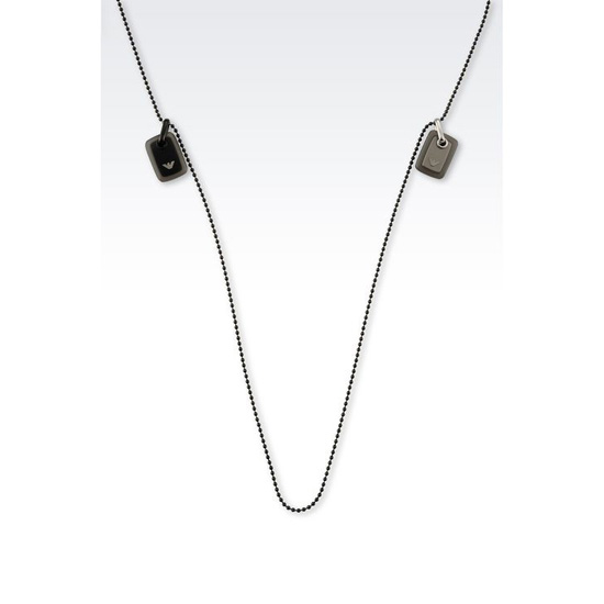 ARMANI NECKLACE IN STEEL AND RESIN WITH MEDALLIONS