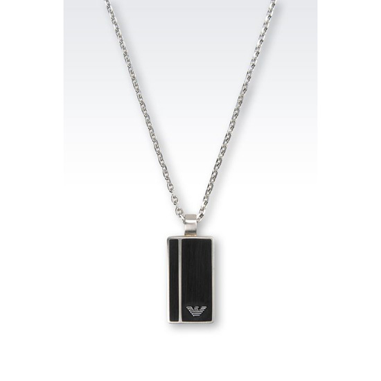 ARMANI STEEL NECKLACE WITH MEDALLION