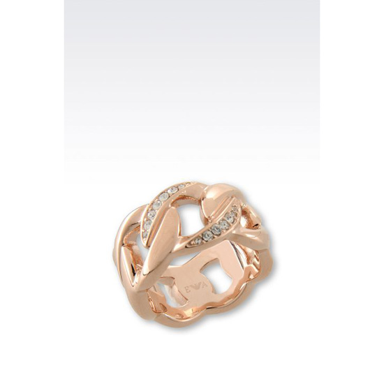 ARMANI RING IN ROSE GOLD-PLATED STEEL AND CRYSTALS