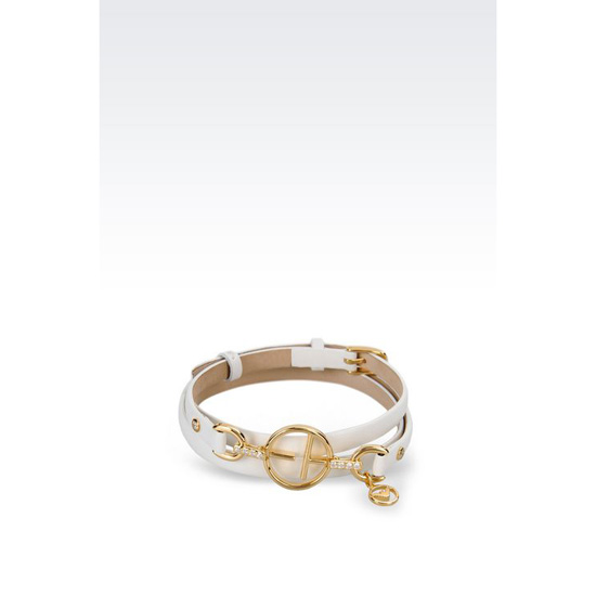 ARMANI LEATHER BRACELET WITH GOLD-PLATED CHARM