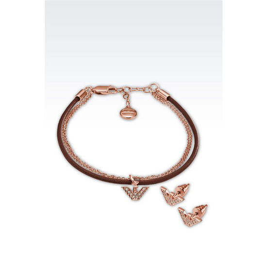 ARMANI BRACELET AND EARRINGS IN ROSE GOLD-PLATED SILVER