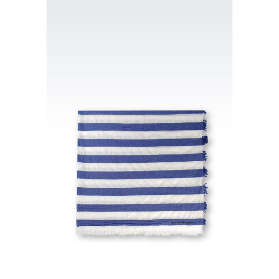 ARMANI SCARF IN STRIPED WOOL AND CASHMERE