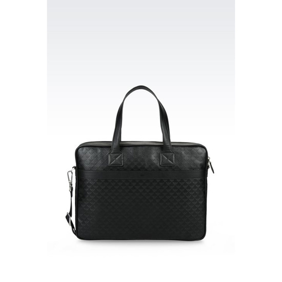 ARMANI LAPTOP BAG IN LOGO PATTERNED CALFSKIN