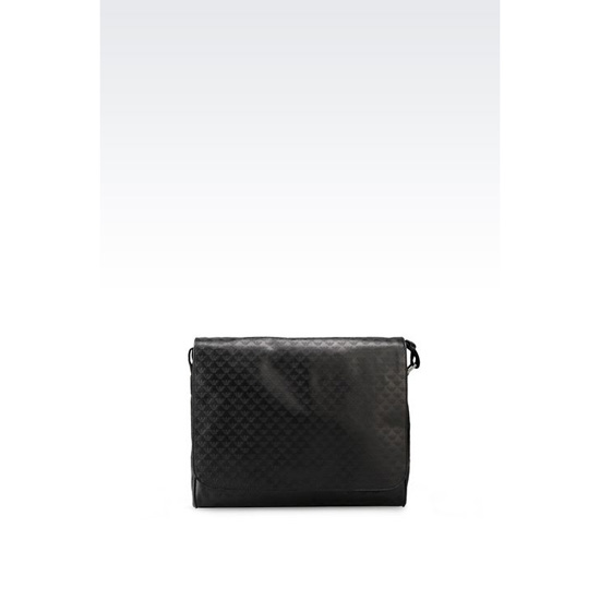 ARMANI MESSENGER BAG IN LOGO PATTERNED CALFSKIN