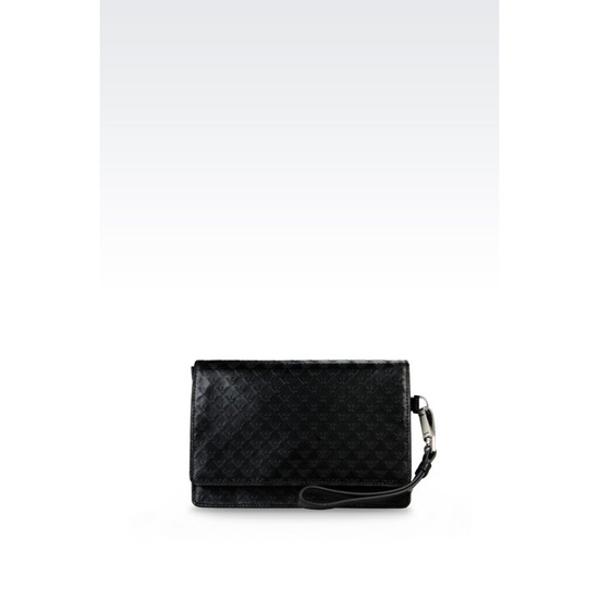 ARMANI MONEY BAG IN LOGO PATTERNED CALFSKIN