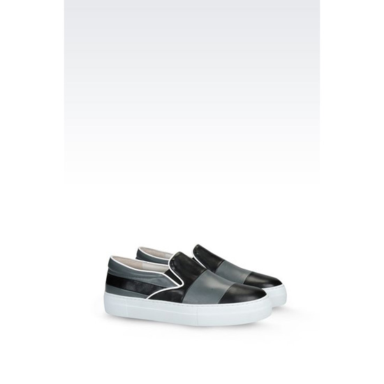 ARMANI SLIP-ON IN TWO-COLOUR NAPA LEATHER