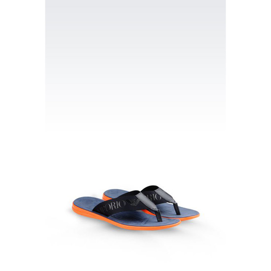 ARMANI CALFSKIN FLIP FLOP WITH RUBBER SOLE