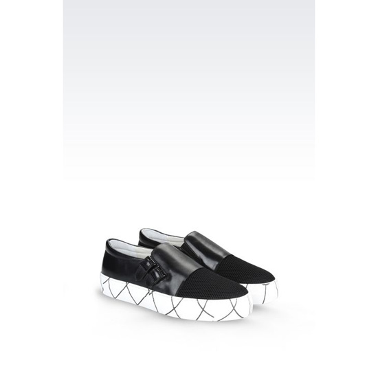 ARMANI RUNWAY SLIP-ON IN CALFSKIN AND MESH