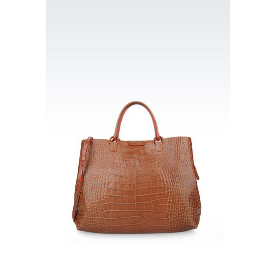 ARMANI LARGE SHOPPING BAG IN CROC PRINT CALFSKIN