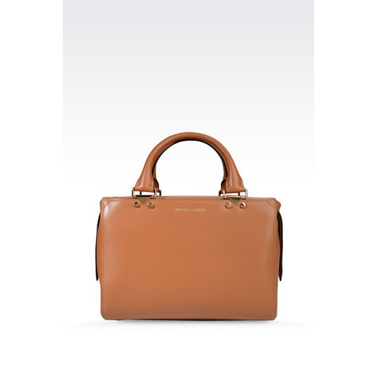 ARMANI SMALL HANDBAG IN BOARDED CALFSKIN WITH DETACHABLE SHOULDER STRAP