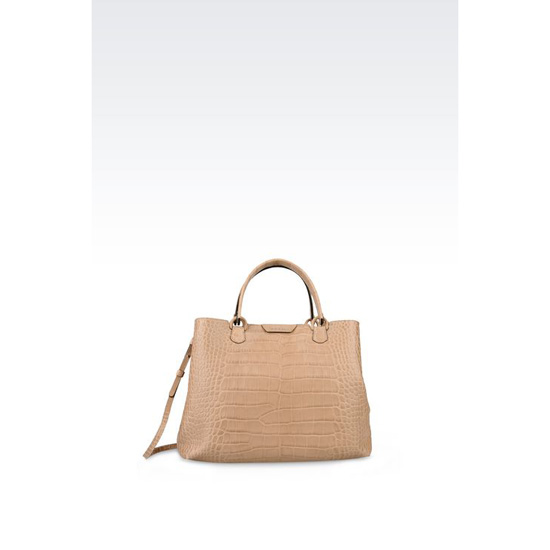 ARMANI MEDIUM SHOPPING BAG IN CROC PRINT CALFSKIN