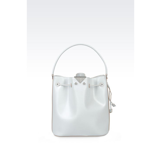 ARMANI BUCKET BAG IN BOARDED CALFSKIN