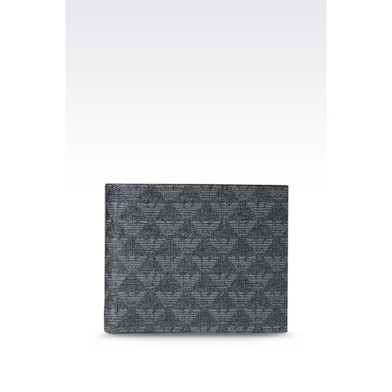 ARMANI BI-FOLD WALLET IN LOGO PATTERNED PVC