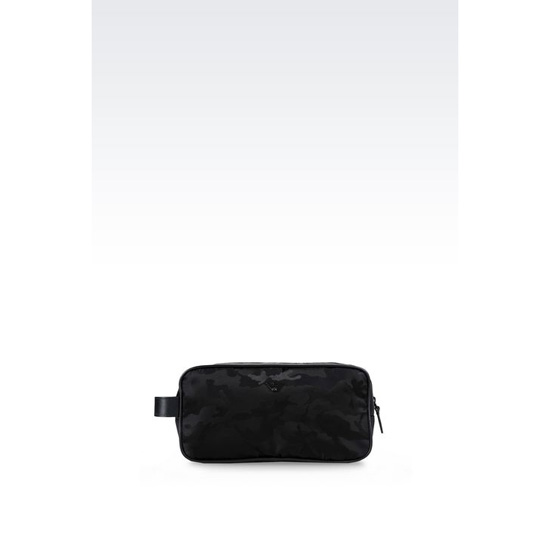 ARMANI WASH BAG IN CAMOUFLAGE TECHNICAL FABRIC