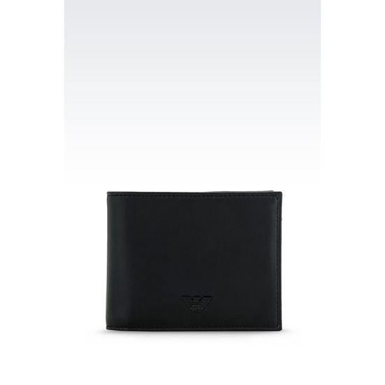 ARMANI BI-FOLD WALLET IN FAUX NAPA LEATHER