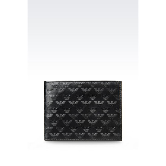 ARMANI BI-FOLD WALLET IN LEATHER WITH ALL OVER LOGO