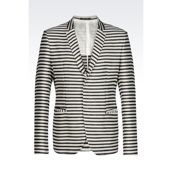 ARMANI RUNWAY JACKET IN STRIPED BASKETWEAVE