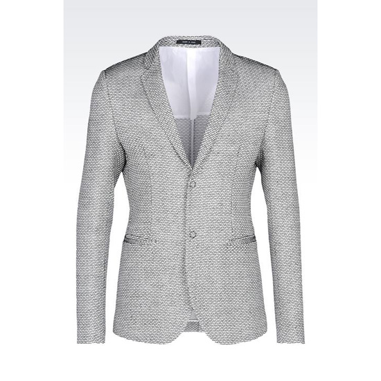 ARMANI RUNWAY JACKET IN RAFFIA EFFECT COTTON AND VISCOSE