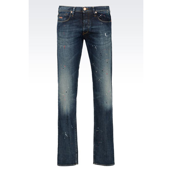 ARMANI REGULAR FIT MEDIUM WASH COLOR SPOTS JEANS