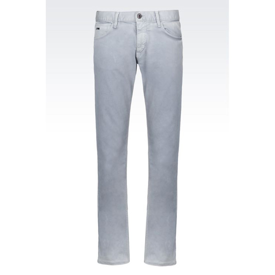 ARMANI SLIM FIT 5 POCKET TROUSERS IN COTTON AND LINEN JERSEY